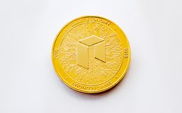 Crypto currency digital gold coin - neo. On a white background is isolated gold coin of a digital crypto currency - neo with free space for text. The back side royalty free stock photos