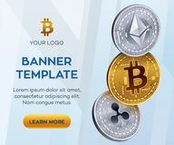 Crypto currency editable banner template. Bitcoin, Ethereum, Ripple. 3D isometric Physical coins. Golden bitcoin coin. And silver ethereum and ripple coins Royalty Free Stock Photography