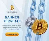 Crypto currency editable banner template. Bitcoin. Ripple. 3D isometric Physical bit coins. Golden bitcoin and silver Ripple coins. With wireframe chain. Block vector illustration