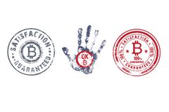 Crypto currency elements icon. Bitcoin, rubber stamp. Vintage, round, rubber stamps icon crypto currency bitcoin vector illustration