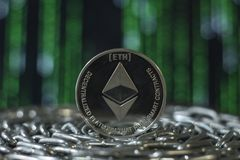 Crypto currency ethereum. e-currency ethereum. Ethereum. Crypto currency ethereum. e-currency ethereum on the chain stock photography