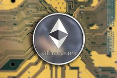 Crypto currency ethereum. Ethereum. Crypto currency ethereum. ethereum coin on exchange charts. e-currency ethereum on the blur background of the circuit board royalty free stock photo