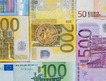 Crypto currency on euro banknote. business concept Stock Images