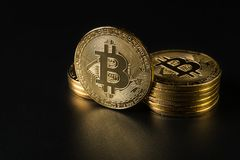 Crypto currency gold Bitcoin. Blockchain technology, Crypto currency gold Bitcoin on dark background royalty free stock image
