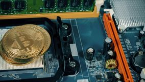 Crypto currency Gold Bitcoin - BTC - Bit Coin. Appearance of the bitcoin coin on the motherboard. Crypto currency Gold Bitcoin - BTC - Bit Coin. Appearance of stock video footage