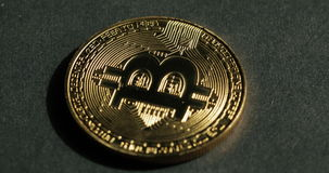 Crypto currency Gold Bitcoin - BTC - Bit Coin. Macro shots crypto currency Bitcoin coins rotating. stock footage