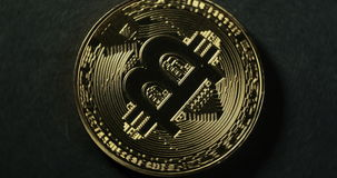 Crypto currency Gold Bitcoin - BTC - Bit Coin. Macro shots crypto currency Bitcoin coins rotating. stock video footage