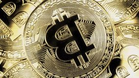Crypto currency Gold Bitcoin - BTC - Bit Coin. Macro shots crypto currency Bitcoin coins rotating. Holomatrix style stock video footage
