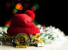 Crypto currency Gold Bitcoin, BTC, macro shot of Bitcoin coins. On christmas background, bitcoin mining concept stock images