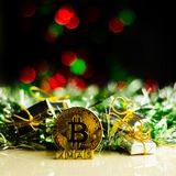 Crypto currency Gold Bitcoin, BTC, macro shot of Bitcoin coins. On christmas background, bitcoin mining concept royalty free stock images