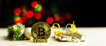 Crypto currency Gold Bitcoin, BTC, macro shot of Bitcoin coins. On christmas background, bitcoin mining concept stock photos