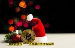 Crypto currency Gold Bitcoin, BTC, macro shot of Bitcoin coins. On christmas background, bitcoin mining concept royalty free stock photos