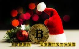 Crypto currency Gold Bitcoin, BTC, macro shot of Bitcoin coins. On christmas background, bitcoin mining concept stock photo