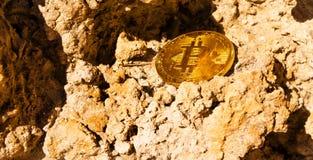 Crypto currency Gold Bitcoin, BTC, macro shot of Bitcoin coins o. N rock background, bitcoin mining concept royalty free stock photos