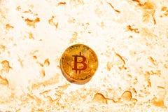 Crypto currency Gold Bitcoin, BTC, macro shot of Bitcoin coins o. N rock background, bitcoin mining concept royalty free stock image