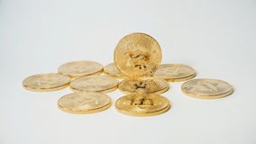 Crypto currency Gold Bitcoins - BTC - Bit Coin. Macro shots crypto currency Bitcoin coins. Cryptocurrency Gold Bitcoin - BTC - Bit Coin. Macro shots crypto Royalty Free Stock Images