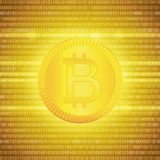 Crypto currency golden coin . Abstract virtual money on a golden background .Digital matrix of deducting money . Eps 10 Stock Photography