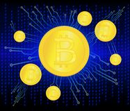 Crypto currency golden coin . Abstract virtual money on blue background   Stock Images