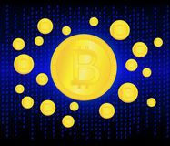 Crypto currency golden coin . Abstract virtual money on blue background .Digital matrix of deducting money . Use for Royalty Free Stock Photography