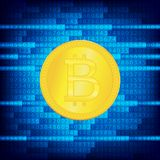 Crypto currency golden coin . Abstract virtual money on blue background .Digital matrix of deducting money . Use for Royalty Free Stock Photos