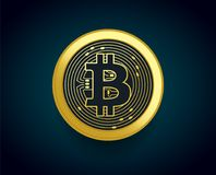 Crypto currency golden coin of Bitcoin - vector illustration concept of the monetary symbol Royalty Free Stock Photos