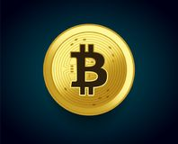 Crypto currency golden coin of Bitcoin - vector illustration concept of the monetary symbol Royalty Free Stock Image