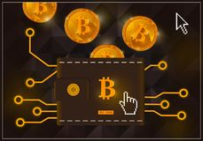 Wallet with crypto currency bitcoins on a black background. Crypto currency golden coin with black lackered bytecoin symbol on obverse surrounded by realistic Stock Images
