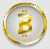 Crypto currency, golden icon bitcoin design Royalty Free Stock Photo