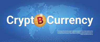 Crypto Currency Horizontal Banner Golden Bitcoin Over World Map Background Digital Web Money Concept. Vector Illustration Stock Photography