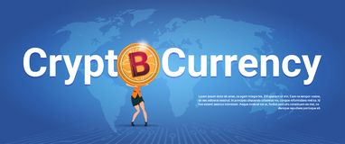 Crypto Currency Horizontal Banner Woman Holding Golden Bitcoin Over World Map Background Digital Web Money Concept. Vector Illustration Royalty Free Stock Photography