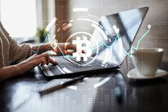 Crypto currency icons and graphs on a virtual screen interface. ICO. Initial Coin Offering. Crypto currency icons and graphs on a virtual screen interface. ICO royalty free stock images