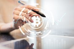 Crypto currency icons and graphs on a virtual screen interface. ICO. Initial Coin Offering. Crypto currency icons and graphs on a virtual screen interface. ICO royalty free stock photography