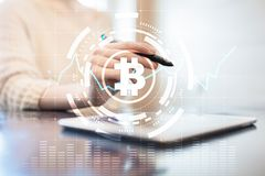 Crypto currency icons and graphs on a virtual screen interface. ICO. Initial Coin Offering. Crypto currency icons and graphs on a virtual screen interface. ICO royalty free stock photos