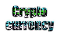 Crypto currency. The inscription has a texture of the photography, which depicts the cryptocurrency mining software screen.  royalty free stock images