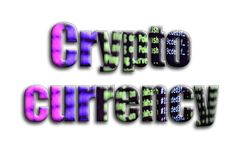 Crypto currency. The inscription has a texture of the photography, which depicts the cryptocurrency mining software screen.  stock illustration