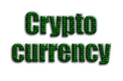 Crypto currency. The inscription has a texture of the photography, which depicts the green binary code.  stock photography