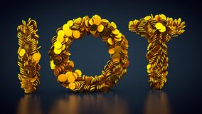 Crypto currency IOTA symbol. In frontal view made out of many golden coins Stock Photo