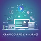 Crypto-currency market concept illustration. Business and Finance. Bitcoin trading. Digital technologies. Charts and. Flat vector illustration. Concept Stock Photo