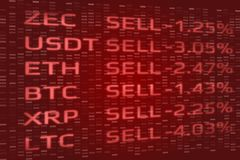 Crypto Currency market panic sell concept. Double exposure of digital coins price drop and binary data background. stock images