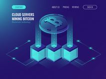 Crypto currency mining comcept, block chain technolofy, token system networking, server room rack ultraviolet isometric. Vector illustration Stock Image