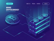 Crypto currency mining farm server. Blockchain isometric, big data processing, server room rack, data center, mainframe Isometric vector ultraviolet Stock Photos