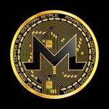 Crypto currency monero golden symbol. Crypto currency golden coin with black lackered monero symbol on obverse isolated on black background. Vector illustration Stock Photo
