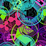 Crypto currency of neon color. Seamless image. Crypto currency of neon color on a black background royalty free illustration