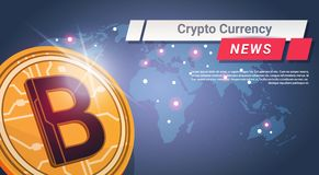 Crypto Currency News Golden Bitcoin Over World Map Digital Web Money Concept Stock Image