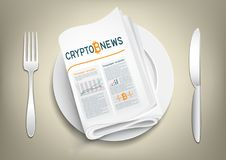 Crypto currency newspaper on plate. Bitcoin blockchain news newspaper on plate, fork and knife on the es. Mining internet currency press. Financial business Stock Images