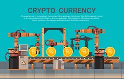 Crypto Currency Production Bitcon Mining Conveyor Technology Modern Web Money Concept. Vector Illustration Stock Images