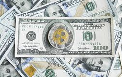 Crypto currency ripple xrp and us dollars money background. Blockchain and cyber currency. Global money. Exchange. Bussiness, commercial. Cash money and royalty free stock photo