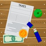 Crypto currency tax. Vector finance payment for bitcoin mining illustration Stock Images