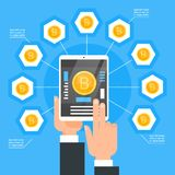 Crypto Currency Technology Bitcoin Exchange Concept Hand Holding Digital Tablet Buy Modern Web Money Bit Coins. Vector Illustration Royalty Free Stock Images