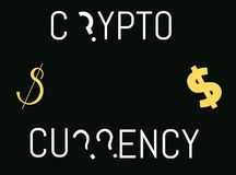 Crypto currency theme. Crypto currency text with dollar signs and question marks Royalty Free Stock Images